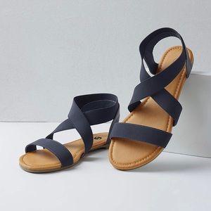 Shoes - Navy Blue Wide Ankle Elastic Strap Sandals